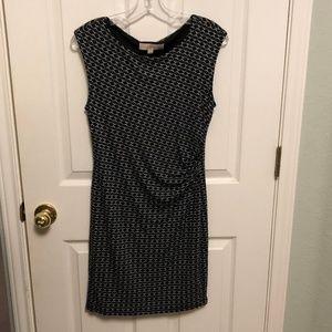 Loft Petites Black Patterned Dress - Sz. MP